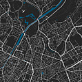 Brussels City Map Black Colour by Marina Constandinou