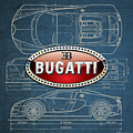Bugatti 3 D Badge Over Bugatti Veyron Grand Sport Blueprint  by Serge Averbukh