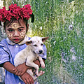 Burmese Girl With Puppy by Michele Burgess