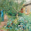 Carl Larsson, Garden Scene From Marstrand On The West Coast Of Sweden. by Carl Larsson