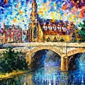 Castle By The River - Palette Knife Oil Painting On Canvas By Leonid Afremov by Leonid Afremov