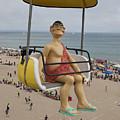 Caveman Above Beach Santa Cruz Boardwalk by Jason O Watson