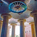 Ceiling Boss And Columns, Park Guell, Barcelona by Brian Shaw