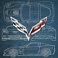 Chevrolet Corvette 3 D Badge Over Corvette C 6 Z R 1 Blueprint by Serge Averbukh