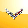 Chevrolet Corvette 3d Badge On Yellow by Serge Averbukh