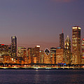 Chicago Skyline At Dusk Panorama by Jon Holiday