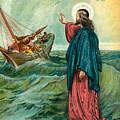 Christ Walking On The Sea by English School