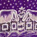 Christmas Picture On Crimson Background by Irina Afonskaya