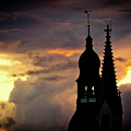Cloudscape Of Orange Sunset Old Town Riga Latvia by Raimond Klavins