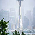 Cloudy And Foggy Day With Seattle Skyline by Alex Grichenko