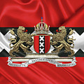 Coat Of Arms Of Amsterdam Over Flag Of Amsterdam by Serge Averbukh