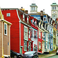 Colorful Houses In St. Johns In Newfoundland by Les Palenik
