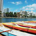 Colorful Outrigger Canoes by Mary Van de Ven - Printscapes