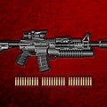 Colt  M 4 A 1  S O P M O D Carbine With 5.56 N A T O Rounds On Red Velvet  by Serge Averbukh