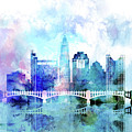 Columbus  Watercolor Skyline by Dim Dom