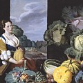Cookmaid With Still Life Of Vegetables And Fruit by MotionAge Designs
