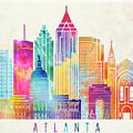 Atlanta Landmarks Watercolor Poster by Pablo Romero