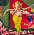 Dancing Ganapati With Universe And Abstract Back Ground by Makarand Joshi