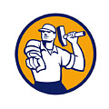 Demolition Worker Hammer Pointing Circle Retro by Aloysius Patrimonio