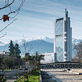 Downtown Street In Santiago De Chile City And Andes Mountains by Jacek Malipan