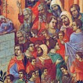 Entry Into Jerusalem Fragment 1311  by Duccio
