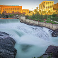Falls And The Washington Water Power Building Along The Spokane  by Alex Grichenko