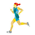 Female Triathlete Marathon Runner Low Polygon by Aloysius Patrimonio