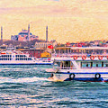 Ferry Traffic On The Bosphorus by Antony McAulay