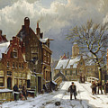 Figures In The Streets Of A Wintry Dutch Town by Willem Koekkoek