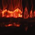Flaming Houses Lights Water Reflection Christmas Arizona City Arizona 2005 by David Lee Guss