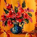 Flowers Modern Abstract Fine Art Canvas by Mark Kazav