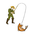 Fly Fisherman Catching Trout Fish Cartoon by Aloysius Patrimonio