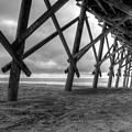 Folly Beach Pier Black And White by Dustin K Ryan