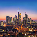Frankfurt Am Main Cityscape At Night, Aerial View by Ioan Panaite