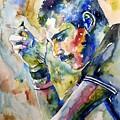 Freddie Mercury Watercolor by Suzann Sines