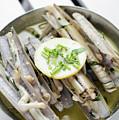 Fresh Razor Shell Seafood Steamed In Garlic Herb Wine Sauce by Jacek Malipan