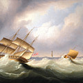 Frigate Off A Lighthouse by James Edward Buttersworth