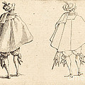 Gentleman In Large Mantle, Seen From Behind by Jacques Callot