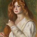 Girl Combing Her Hair by Pierre Auguste Renoir