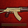Gold A K S-74 U Assault Rifle With 5.45x39 Rounds Over Red Velvet   by Serge Averbukh