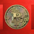 Gold Bitcoin Effigy Over Red Canvas by Serge Averbukh