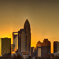 Golden Charlotte Skyline by Alex Grichenko