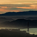 Golden Gate Bridge And San Francisco Bay At Sunset by David Oppenheimer