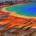 Grand Prismatic Spring Yellowstone National Park Tourists Viewin by Lane Erickson