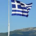 Greek Flag In Acropolis Of Athens by George Atsametakis