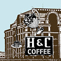 H And C Coffee Sign Roanoke Virginia by Teresa Mucha