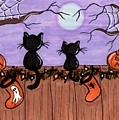 Halloween Cats Fence by Tambra Wilcox