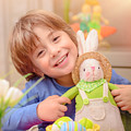 Happy Boy With Easter Bunny by Anna Om