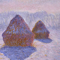 Haystacks, Snow And Sun Effect by Claude Monet