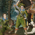 Henry Frederick Prince Of Wales With Sir John Harington In The Hunting Field by Robert Peake the Elder